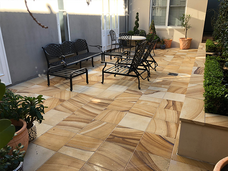 Sandstone pavers organic stain cleaning AFTER