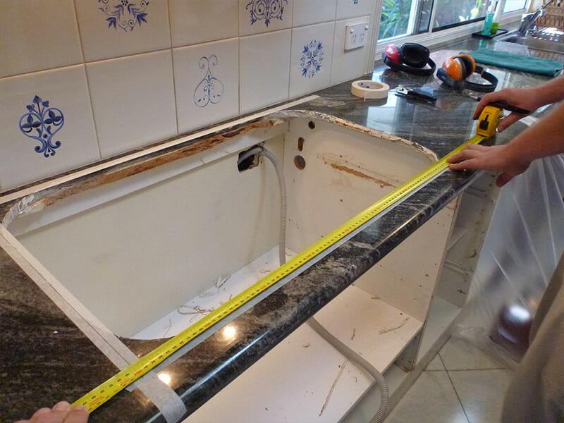 Granite benchtop adjustment before