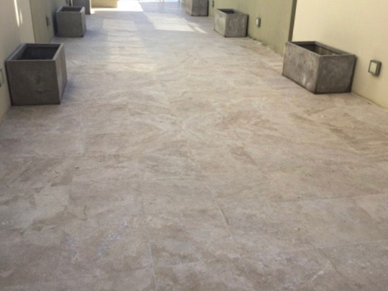 Travertine outdoor paver cleaning and sealing AFTER