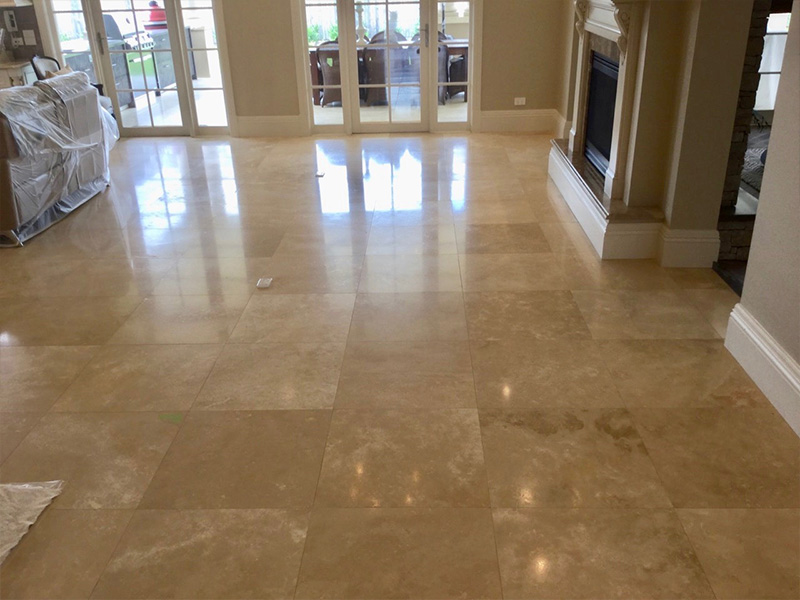 Travertine floor polishing and sealing AFTER