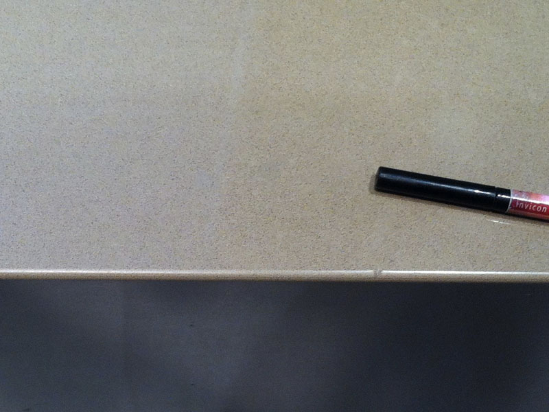 Essastone benchtop bleach burn polishing AFTER