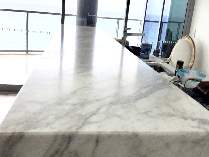 Marble benchtop worn honing and TuffSkin AFTER