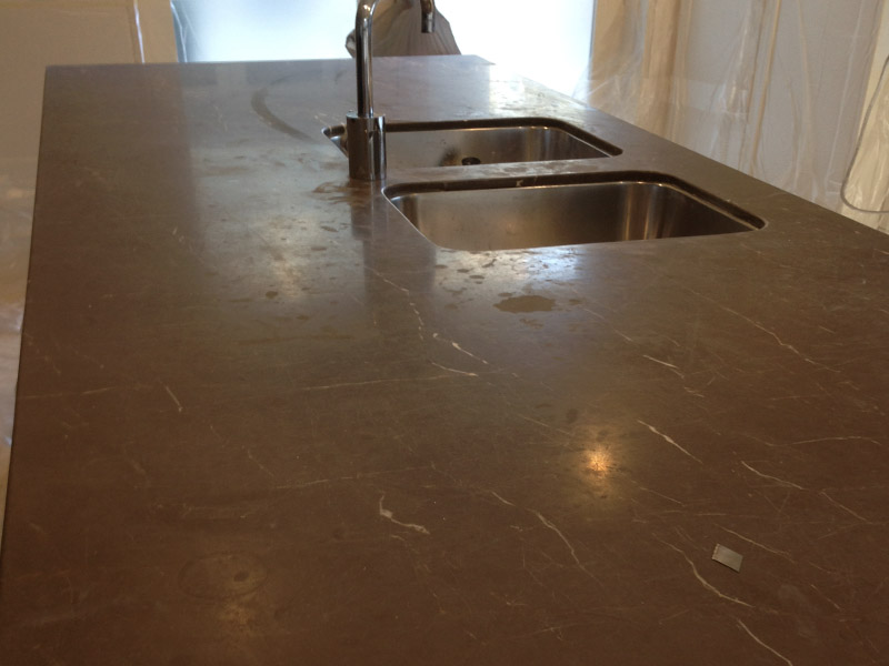 Marble Benchtop Honing Before