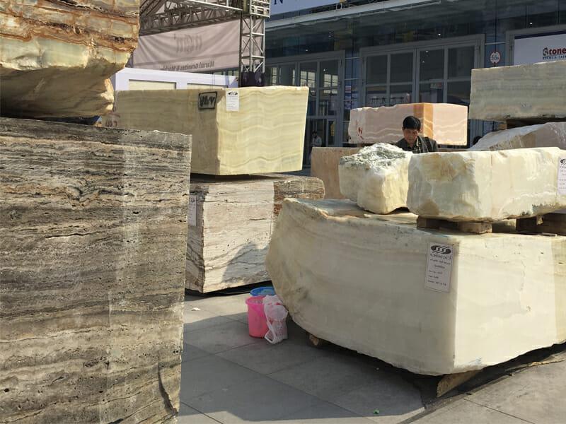 Stone slabs before cutting