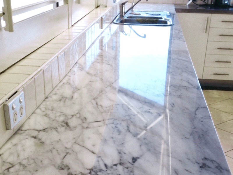 Calcutta marble benchtop polishing AFTER