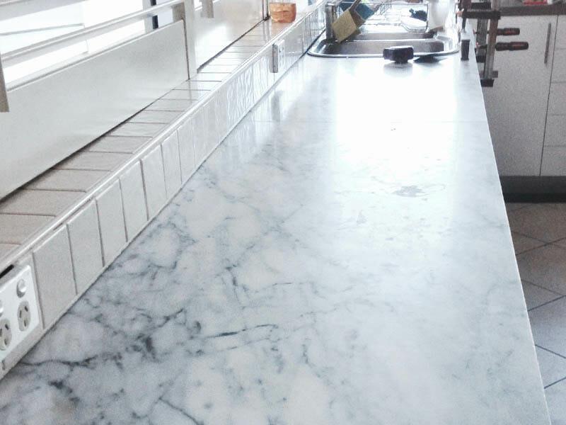 Carrara marble benchtop polishing BEFORE