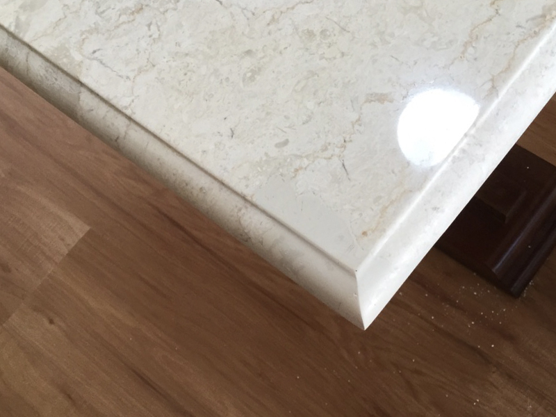 White marble coffee table chip repair AFTER