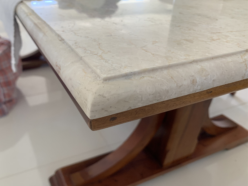 White marble table chip repair AFTER